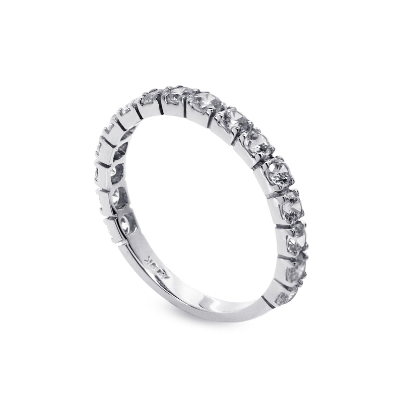 9K White Gold Eternity Ring - Half Band Eternity Ring