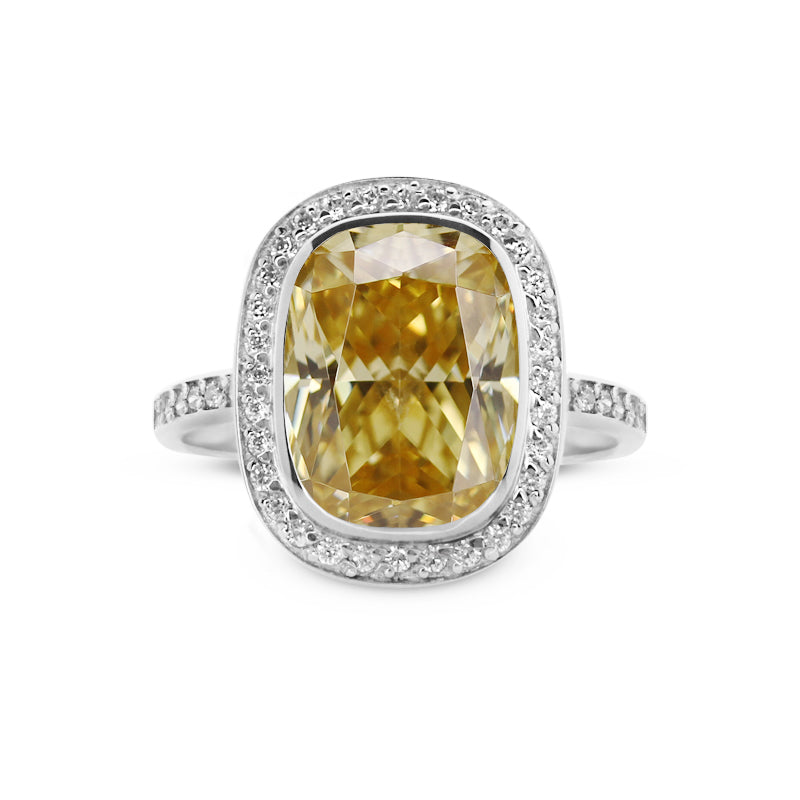 Penny Fancy Yellow Cushion Borderset Ring