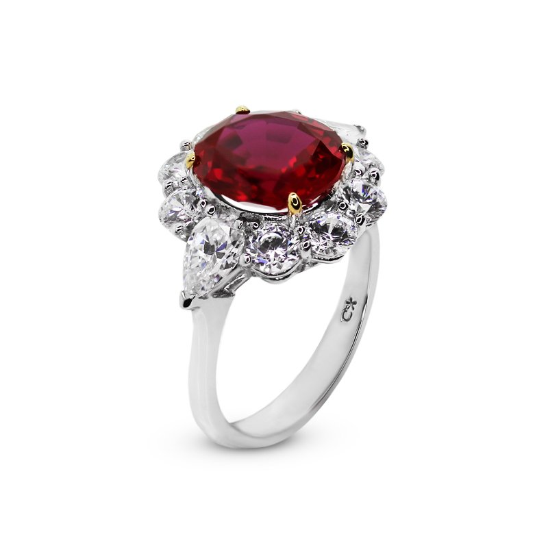 Sterling Silver Cocktail Ring - Ruby Centre Stone