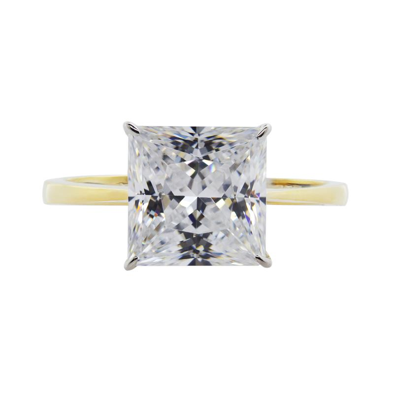 Julia Knife Edge Princess Solitaire Ring Yellow Gold