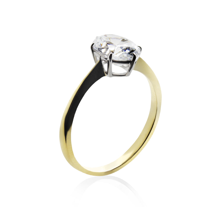 Knife Edge Oval Solitaire Yellow Gold