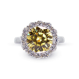 Shadia Canary Round Borderset Ring
