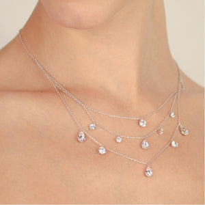 9K White Gold Layered Necklace