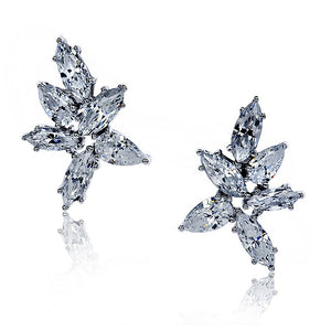 9K White Gold Stud Earrings - Marquise and Pear clusters