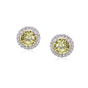 Sterling Silver Stud Earrings - Round Yellow Borderset design