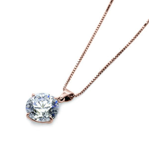 Hazel Four Prong Round Pendant Necklace Rose Gold