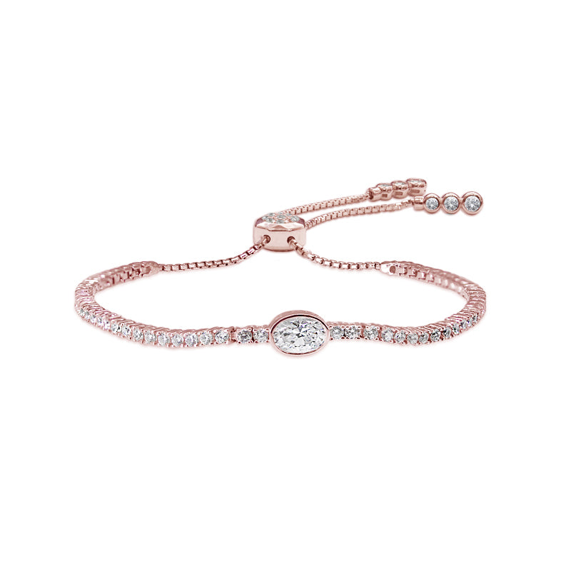 Sterling Silver Adjustable Bracelet - Rose Gold