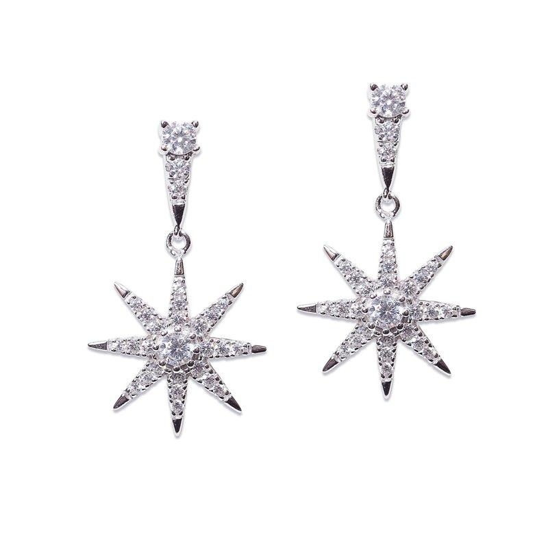Sterling Silver Drop Earrings - Stella Collection Star Drop Earrings