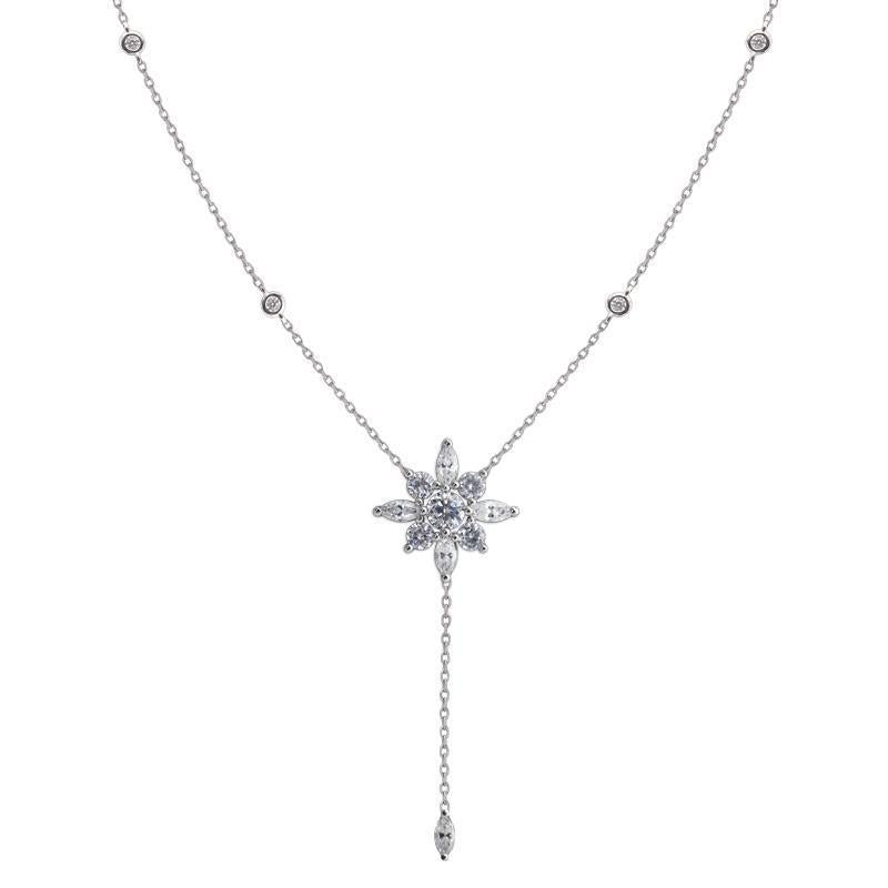 Sterling Silver Lariat Necklace - Flower design