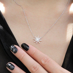 Sterling Silver Necklace - Star Motif Necklace