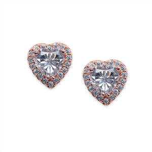 Sterling Silver Heart Studs - Rose Gold