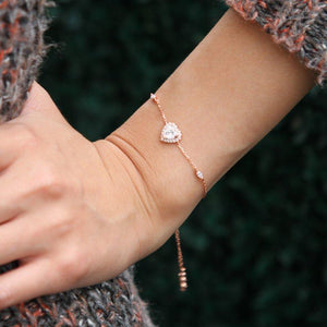 Sterling Silver Heart Bracelet - Rose gold