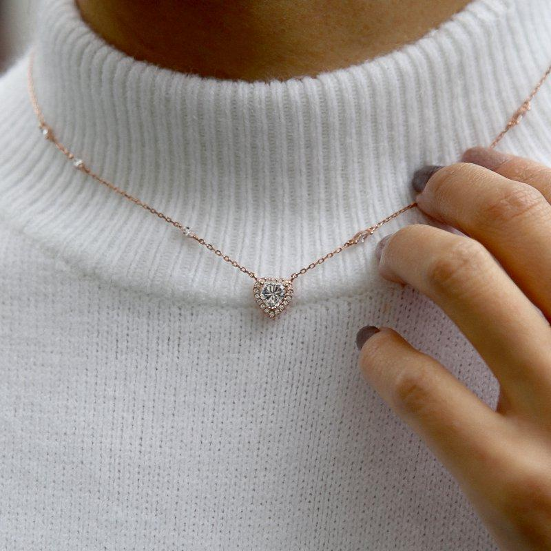 Sterling Silver Heart Necklace - Rose Gold