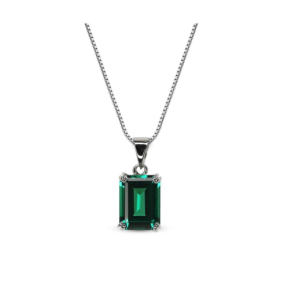 Fulton Emerald Double Prong Pendant Necklace