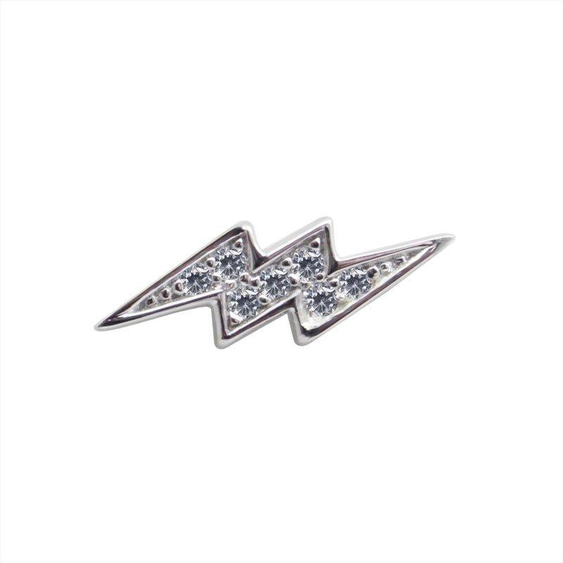 Sterling Silver Stud Earring - Single Lightning Bolt Stud earring