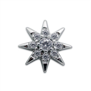 Sterling Silver Stud Earring - Single Starburst Stud