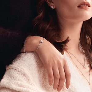 Sterling Silver Adjustable Bracelet - Star Design