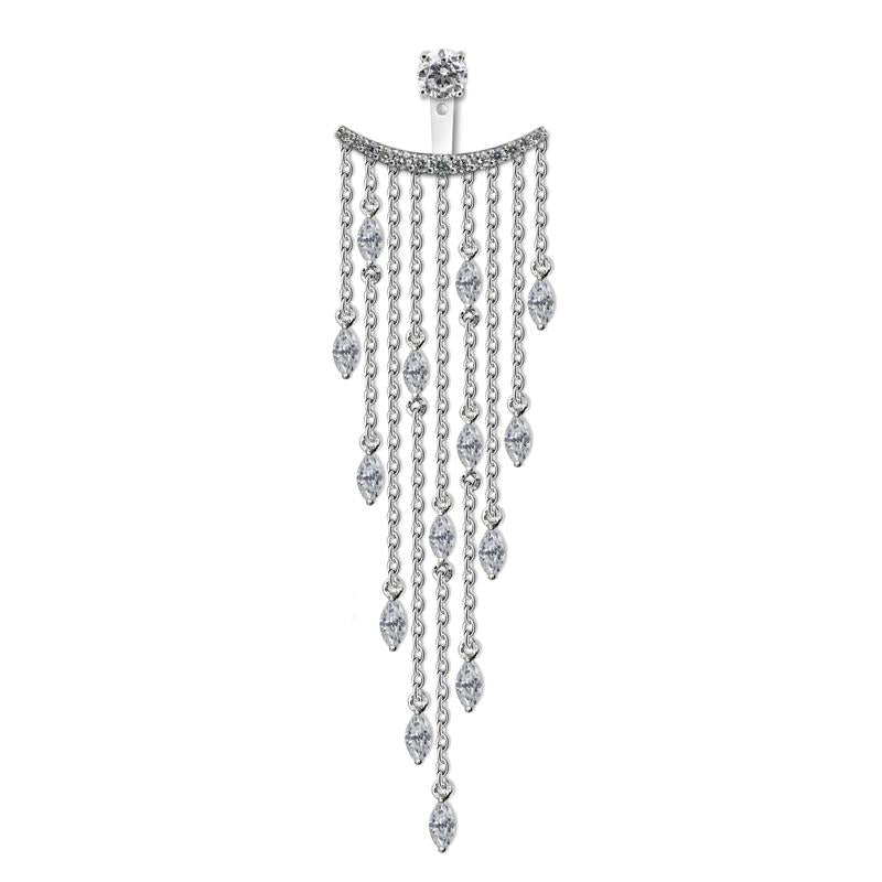Sterling Silver Ear Jacket - Single Chandelier earring