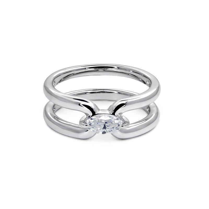 Sterling Silver Ring - Jett Ring, silver bands with Marquise stone