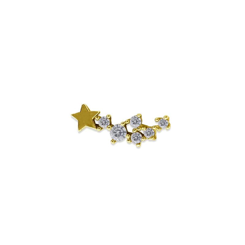 9K Yellow Gold Star Stud