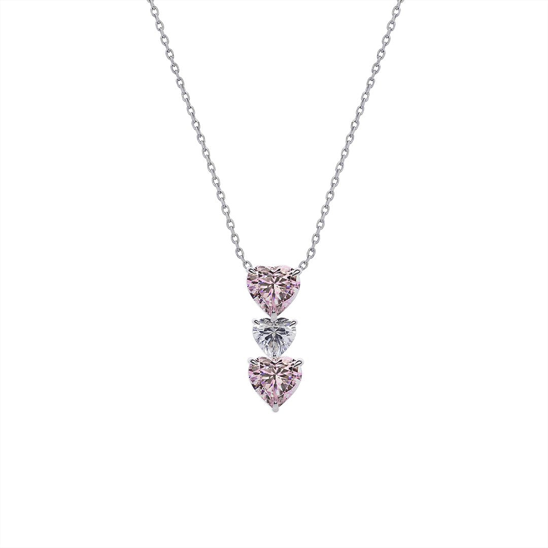 Tri Heart Necklace in Fancy Pink