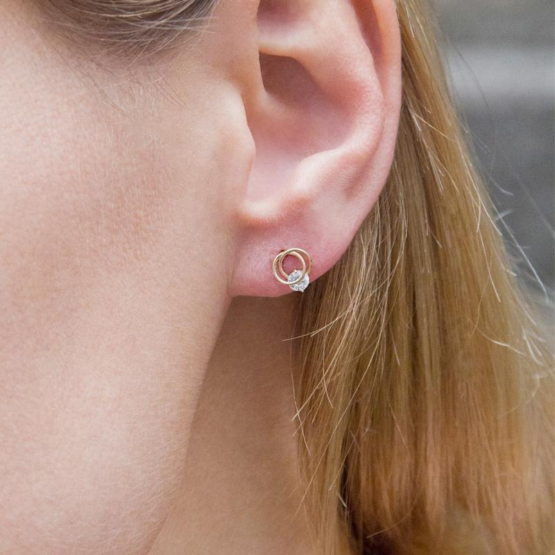 9K Rose Gold Stud Earring