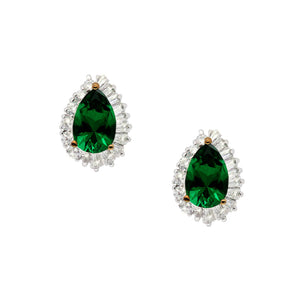 Sterling Silver Stud Earrings - Pear cut emerald green