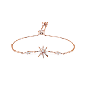 Sterling Silver Adjustable Bracelet - Rose Gold Star design