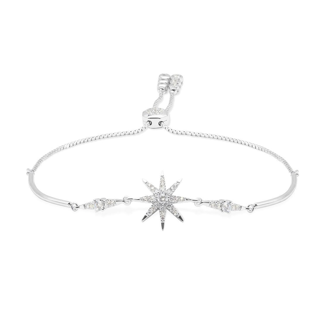 Sterling Silver Bracelet - Stella Collection Star design bracelet with slider