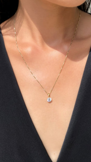 Hazel Four Prong Round Pendant Necklace Yellow Gold