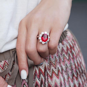 Lisa Oval Flower Ruby Cocktail Ring