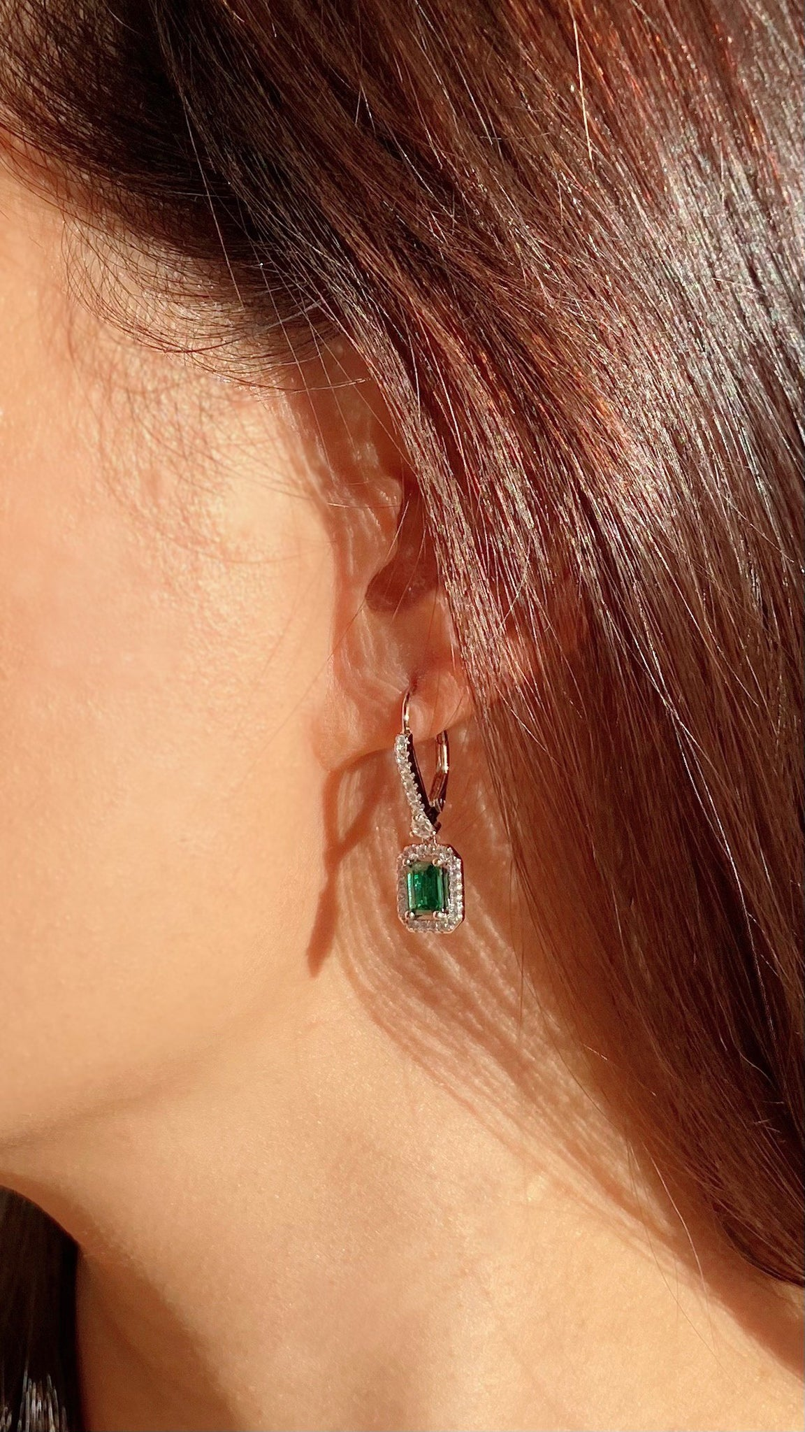Moxie Emerald  Green Borderset Drop Earrings