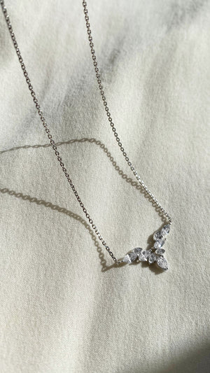 Petal Necklace 9K White Gold