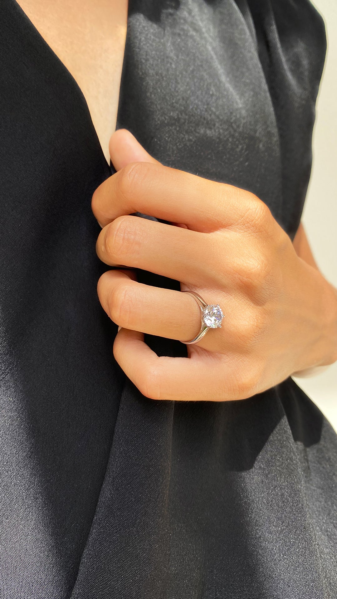 Rosey Round Solitaire Ring