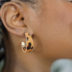 LIL LEOPARD HOOPS - GENUINE LEATHER