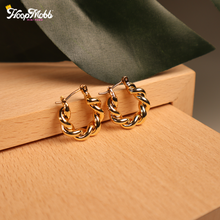 Load image into Gallery viewer, 🎀 MINI MOBB- ROPE TWIST HOOPS - 14K GOLD FILLED