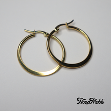 Load image into Gallery viewer, FLAT OUT VINTAGE HOOPS - STAINLESS STEEL - GOLD/SMALL