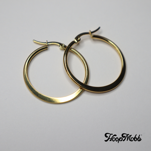 FLAT OUT VINTAGE HOOPS - STAINLESS STEEL - GOLD/SMALL