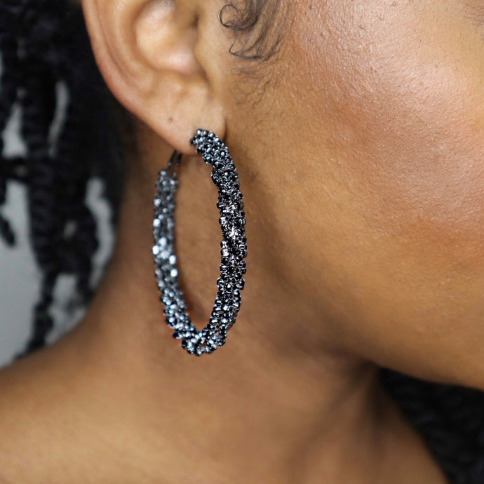SLIM THICK DIAMOND GIRL HOOPS - MIDNIGHT