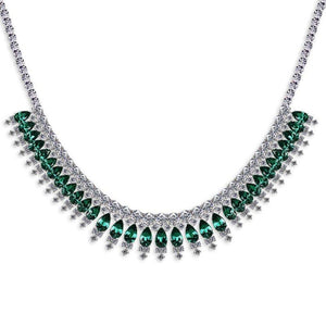 Sterling Silver Cocktail Necklace - Emerald Pear cut and white rounds