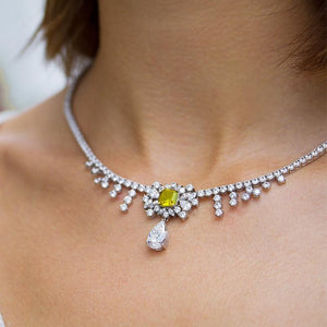 Sterling Silver Cocktail Necklace - Yellow Asscher and white round brilliants