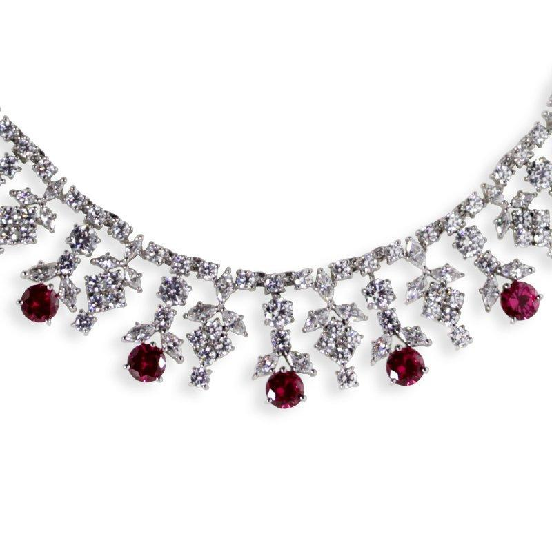 Sterling Silver Cocktail Necklace - Ruby Round drops