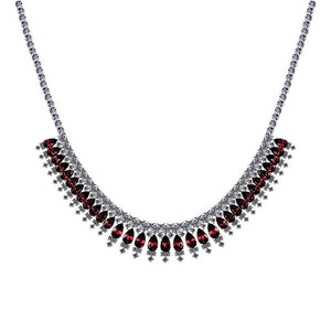 Sterling Silver Cocktail Necklace - Ruby Pear and White rounds