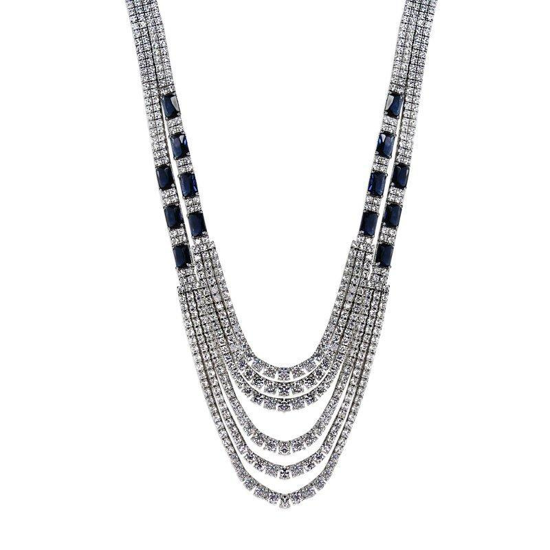 Sterling Silver cocktail Necklace - Sapphire Emerald cut and white Round brilliants