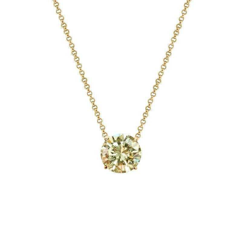 9K Yellow Gold Necklace - Yellow Round Brilliant