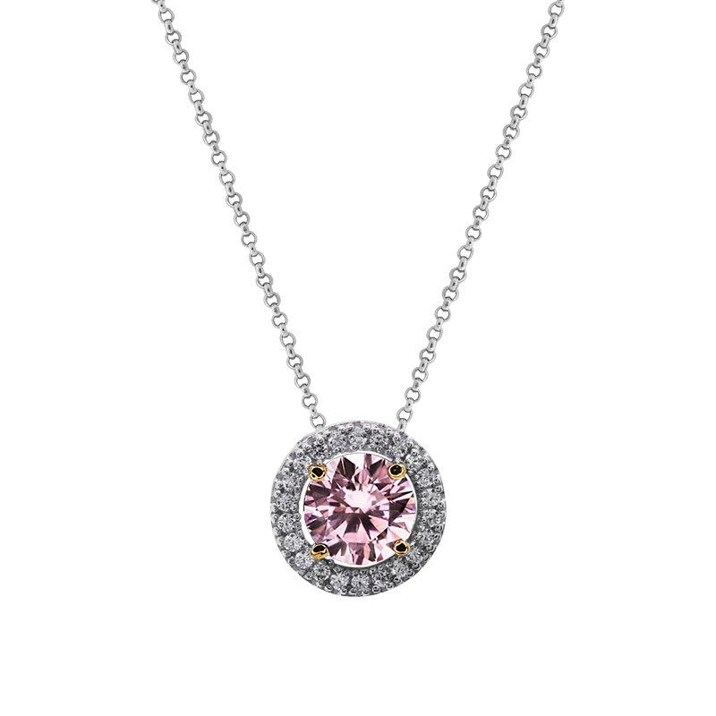 Classic Border Set Pendant in Fancy Pink