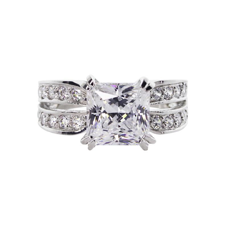 Deana Princess Double Channel Set Ring White Gold