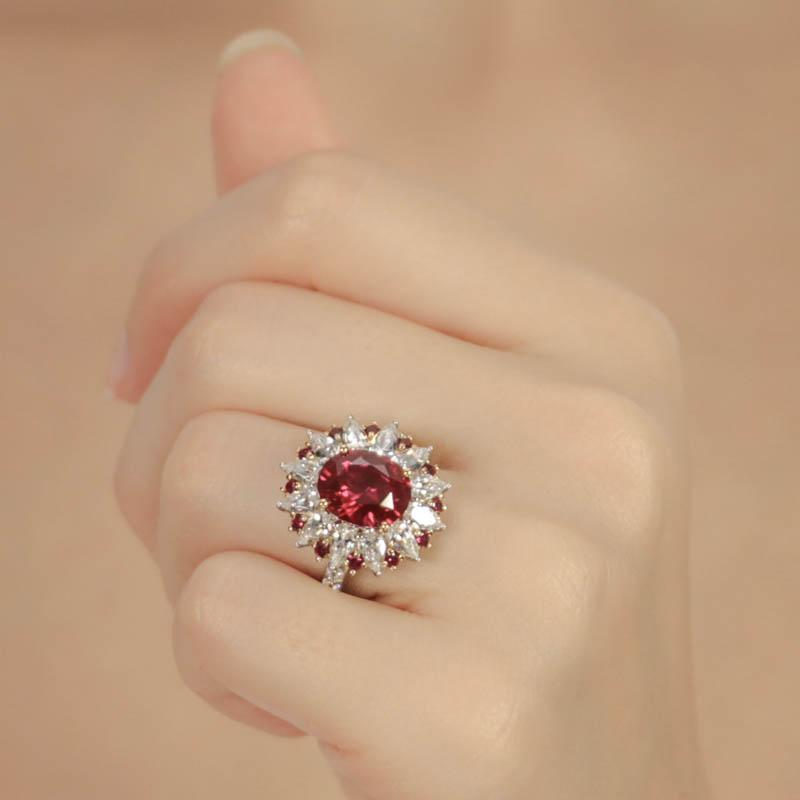 Emma Ruby Oval Cluster Ring
