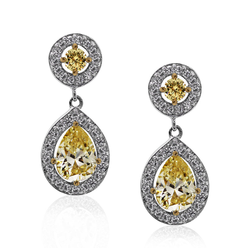 Noemi Pear Round Borderset Drop Earrings