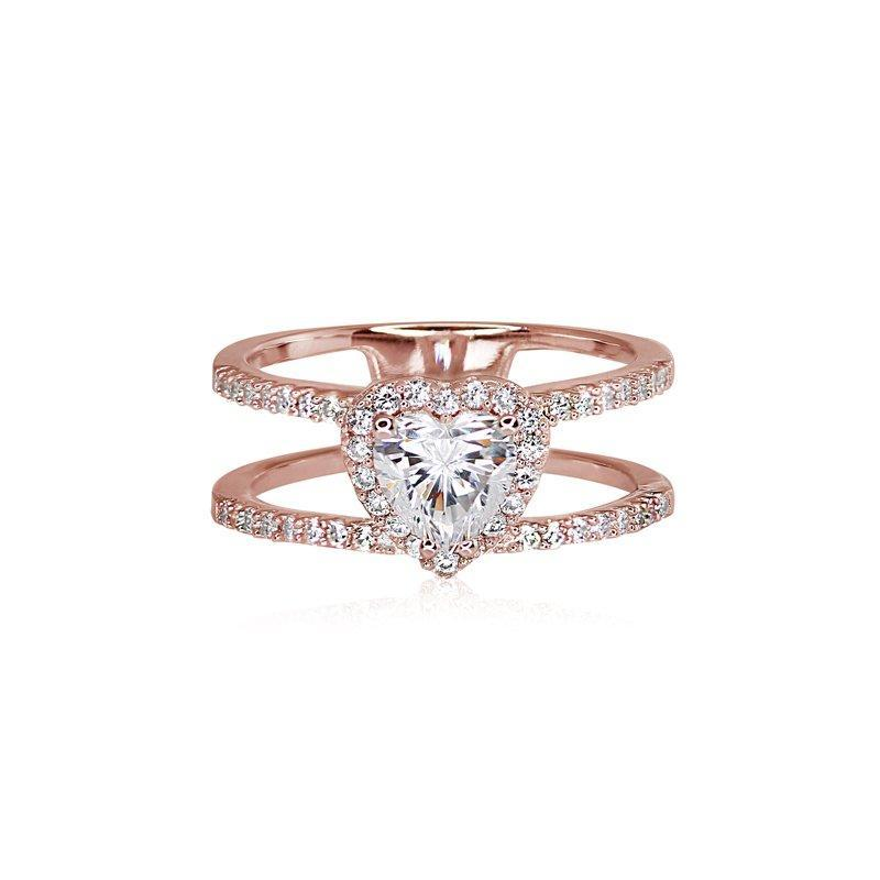 Sterling Silver Heart Ring - Rose Gold